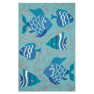 Go Fish Hand-Hooked Lake Indoor/Outdoor Area Rug Rug Size: 5 x 8
