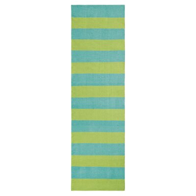 Awning Stripe Hand-Woven Lake Indoor/Outdoor Area Rug Rug Size: Runner 26 x 8