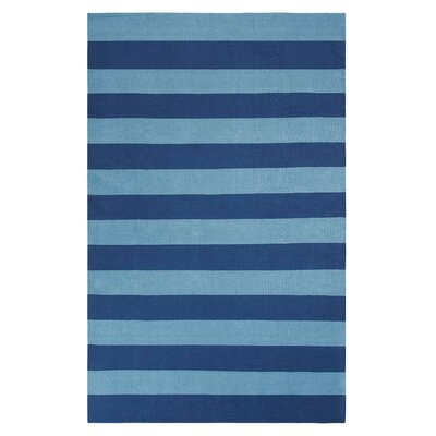Awning Stripe Hand-Woven Navy Indoor/Outdoor Area Rug Rug Size: 3 x 5