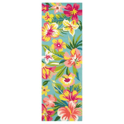 Mai Tai Hand-Hooked Green/Pink Area Rug Rug Size: Runner 26 x 8