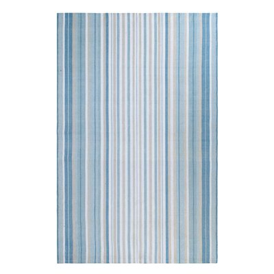 Cirrus Stripe Hand-Woven Blue Indoor/Outdoor Area Rug Rug Size: 5 x 8