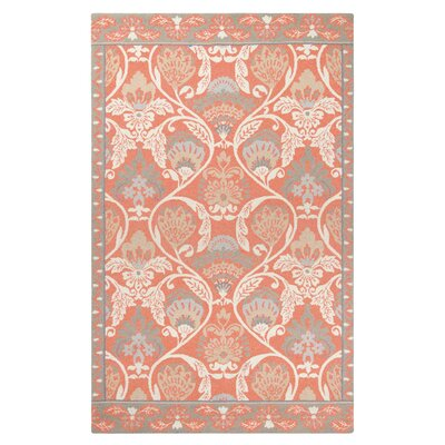 Quinn Hand-Hooked Coral Area Rug Rug Size: Rectangle 8 x 10