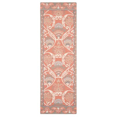Quinn Hand-Hooked Coral Area Rug Rug Size: Runner 26 x 8