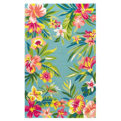 Mai Tai Hand-Hooked Green Indoor/Outdoor Area Rug Rug Size: 36 x 56
