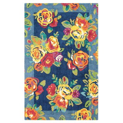Cabbage Roses Hand-Tufted Navy Area Rug Rug Size: 5 x 8