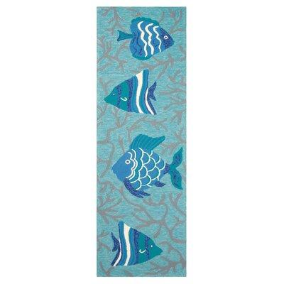 Go Fish Hand-Hooked Lake Indoor/Outdoor Area Rug Rug Size: Runner 26 x 8