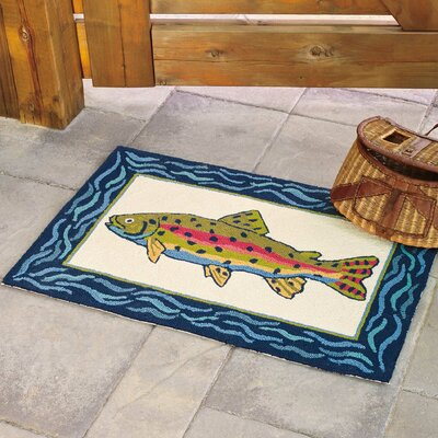 Rainbow Trout Hand-Hooked Cream Indoor/Outdoor Area Rug