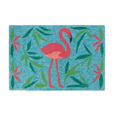 Fancy Flamingo Aqua Indoor/Outdoor Area Rug Rug Size: 3'6