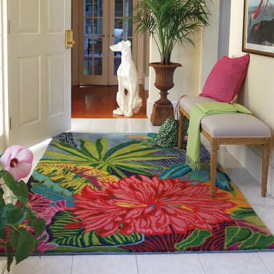 Captiva Green / Red Area Rug Rug Size: 46 x 66