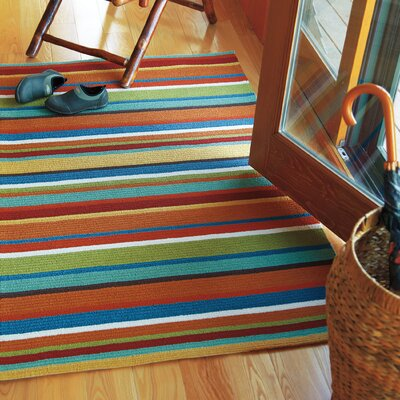 Cabana Orange Stripe Indoor/Outdoor Area Rug Rug Size: Runner 26 x 8
