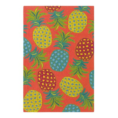 Pineapples Coral Indoor/Outdoor Area Rug Rug Size: 5 x 8