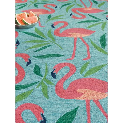 Fancy Flamingo Aqua Indoor/Outdoor Area Rug Rug Size: Runner 26 x 8