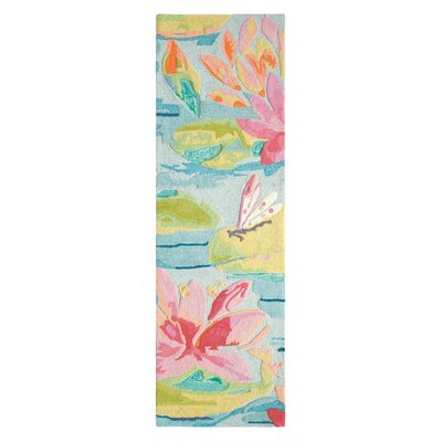 Water Lilies Hand Tufted Pink/Blue Area Rug Rug Size: Runner 26 x 8