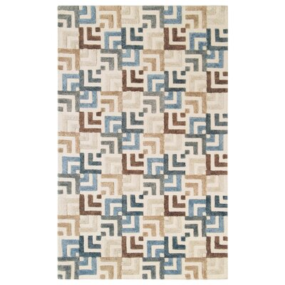 Squared Off Hand-Tufted Cream/Gray Area Rug Rug Size: 5 x 8