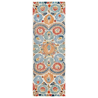Matyo Hand Tufted Wool Cream/Blue Area Rug Rug Size: Runner 26 x 8