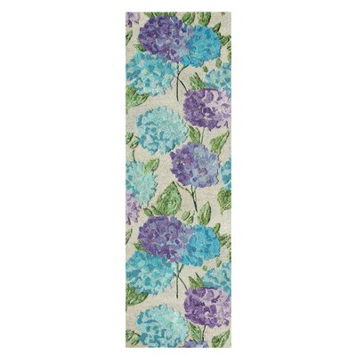Hydrangea Hand Tufted Green/Blue Area Rug Rug Size: Runner 2'6