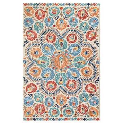 Matyo Hand Tufted Wool Cream/Blue Area Rug Rug Size: 5 x 8