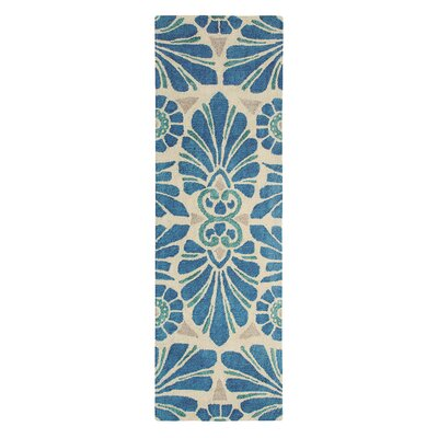 Painted Medallion Hand-Tufted Blue Area Rug Rug Size: Runner 26 x 8