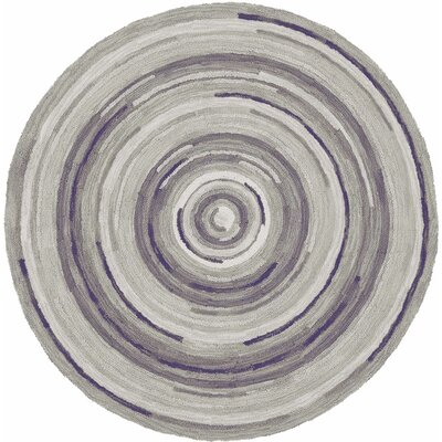 Concentric Hand Tufted Wool Gray Area Rug Rug Size: Round 7