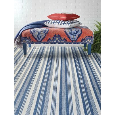 Ticking Stripe Hand-Woven Blue/White Indoor/Outdoor Area Rug Rug Size: 5 x 8