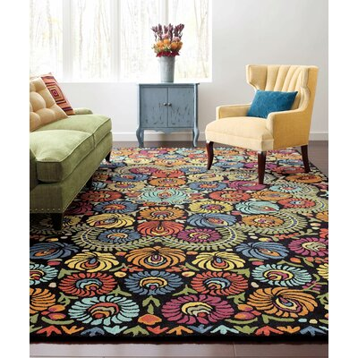 Matyo Hand Tufted Wool Orange/Green Area Rug Rug Size: 5 x 8