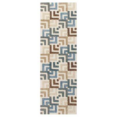 Squared Off Hand-Tufted Cream/Gray Area Rug Rug Size: Runner 26 x 8