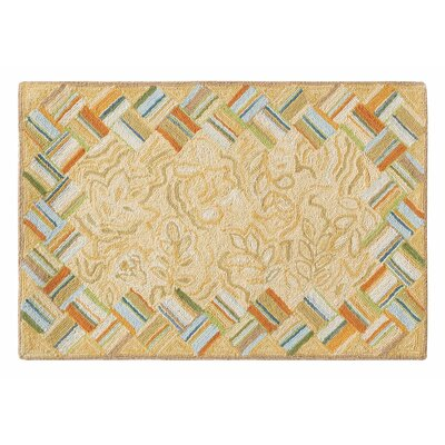 Basket Case Hand-Hooked Wool Carmel Area Rug Rug Size: 2 x 3
