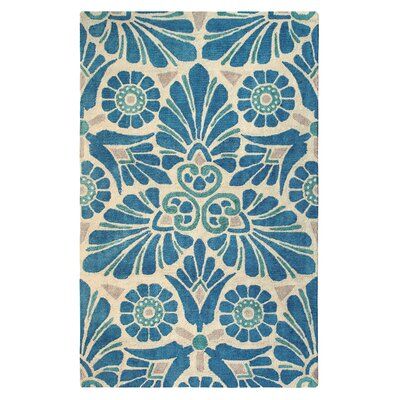 Painted Medallion Hand-Tufted Blue Area Rug Rug Size: 9 x 13