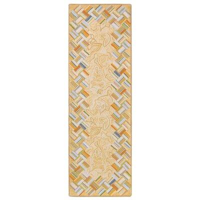 Basket Case Hand-Hooked Wool Carmel Area Rug Rug Size: Runner 26 x 8