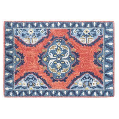 Old Glory Hand Hooked Wool Red/Blue Area Rug Rug Size: 5 x 8