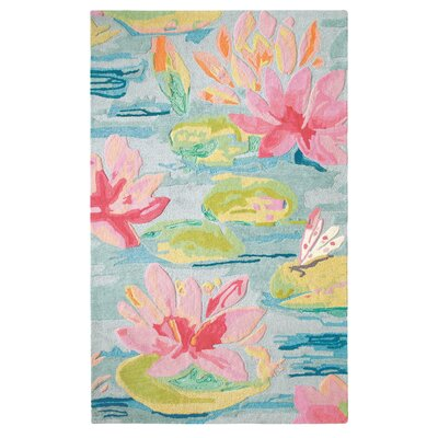 Water Lilies Hand Tufted Pink/Blue Area Rug Rug Size: 8 x 10