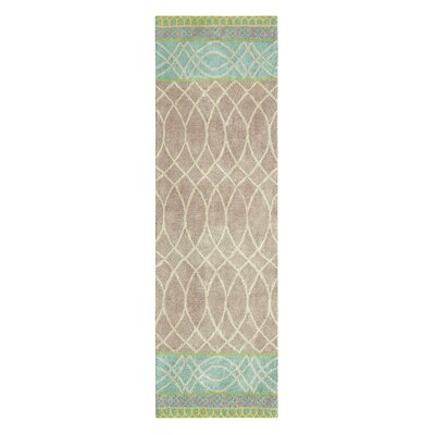 Lattice Swirl Hand Tufted Aqua/Brown Area Rug Rug Size: Runner 2'6