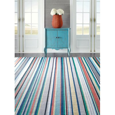 Farmhouse Stripe Hand Woven Red/Green Indoor/Outdoor Area Rug Rug Size: 8 x 10