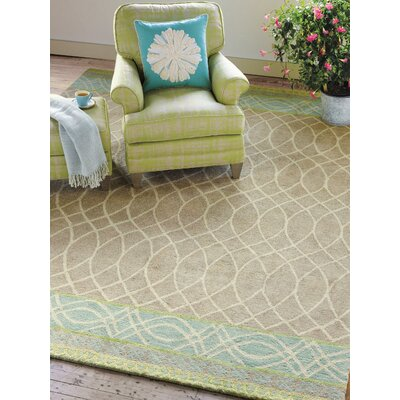Lattice Swirl Hand Tufted Aqua/Brown Area Rug Rug Size: 9 x 13