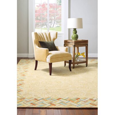 Basket Case Hand-Hooked Wool Carmel Area Rug Rug Size: 9 x 13