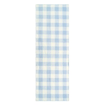 Check Please Hand Woven Blue Mist Indoor/Outdoor Area Rug Rug Size: Runner 26 x 8