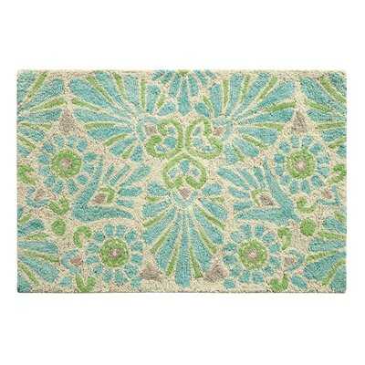 Painted Medallion Hand-Tufted Blue Area Rug Rug Size: 2 x 3