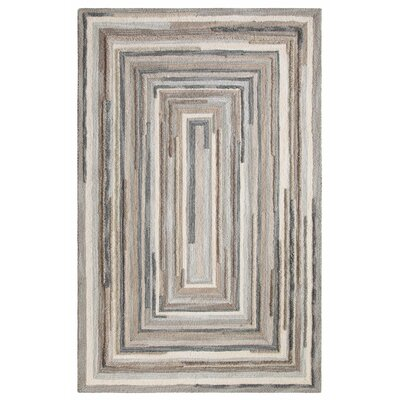Concentric Hand Tufted Wool Gray Area Rug Rug Size: Rectangle 8 x 10