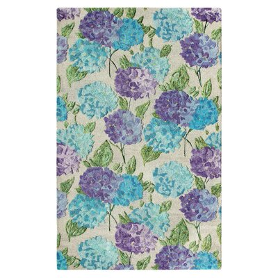 Hydrangea Hand Tufted Green/Blue Area Rug Rug Size: 5 x 8