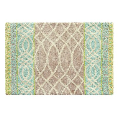 Lattice Swirl Hand Tufted Aqua/Brown Area Rug Rug Size: 2 x 3
