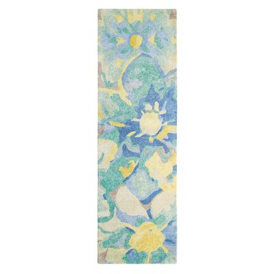 Blue Poppies Hand-Tufted Yellow/Blue Area Rug Rug Size: Runner 26 x 8