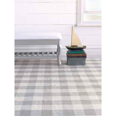 Check Please Hand Woven Pewter Indoor/Outdoor Area Rug Rug Size: 5 x 8