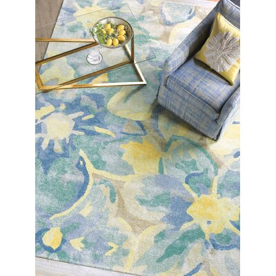 Blue Poppies Hand-Tufted Yellow/Blue Area Rug Rug Size: 5 x 8