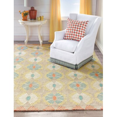 Hadley Hand Hooked Orange/Yellow Area Rug Rug Size: 5 x 8