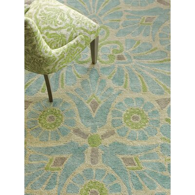 Painted Medallion Hand-Tufted Blue Area Rug Rug Size: 3 x 5