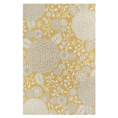 Kisling Yellow/Gray Area Rug Rug Size: Rectangle 76 x 96