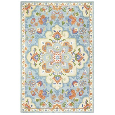 Corby Blue/Cream Area Rug Rug Size: Rectangle 86 x 126