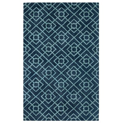 Diamond Lattice Hand-Tufted Navy Area Rug Rug Size: Rectangle 9 x 13