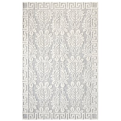 Savoy Hand-Woven Ivory/Gray Area Rug Rug Size: Rectangle 5 x 8