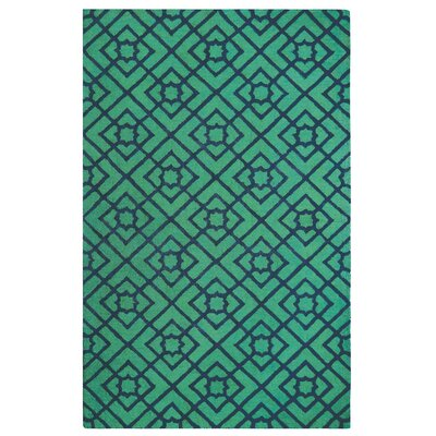 Diamond Lattice Hand-Tufted Green/Blue Area Rug Rug Size: Rectangle 5 x 8